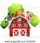 Swine Clipart of Group of Farm Animals over a Red Barn by Graphics RF