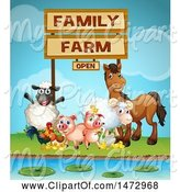Swine Clipart of Group of Farm Animals Under a Sign by Graphics RF