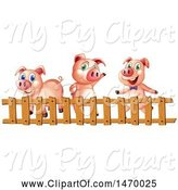 Swine Clipart of Group of Pigs Behind a Fence by Graphics RF