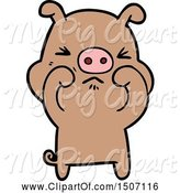 Swine Clipart of Grumpy Pig by Lineartestpilot