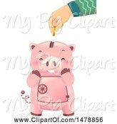 Swine Clipart of Hand Inserting a Coin into a Cute Piggy Bank by BNP Design Studio