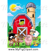 Swine Clipart of Happy Animals by a Barn and Silo Granary by Visekart