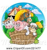 Swine Clipart of Happy Barnyard Animals Looking over a Fence by Visekart