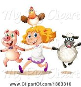 Swine Clipart of Happy Blond White Girl Holding Hands and Running with a Chicken, Pig and Sheep by Graphics RF