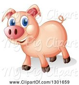Swine Clipart of Happy Blue Eyed Pig by Graphics RF