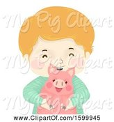 Swine Clipart of Happy Boy Holding a Pet Piggy by BNP Design Studio