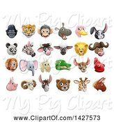 Swine Clipart of Happy Cartoon Animal Face Avatars by AtStockIllustration