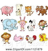 Swine Clipart of Happy Cartoon Animals by Graphics RF