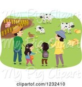 Swine Clipart of Happy Cartoon Asian Family Visiting a Farm by BNP Design Studio