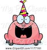 Swine Clipart of Happy Cartoon Birthday Pig Wearing a Party Hat by Cory Thoman