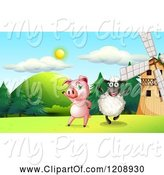 Swine Clipart of Happy Cartoon Black Sheep and Pig Cheering by a Windmill by Graphics RF