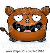 Swine Clipart of Happy Cartoon Boar Character Mascot by Cory Thoman