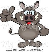 Swine Clipart of Happy Cartoon Boar Giving a Thumb up by Dennis Holmes Designs