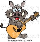 Swine Clipart of Happy Cartoon Boar Playing an Acoustic Guitar by Dennis Holmes Designs