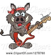 Swine Clipart of Happy Cartoon Boar Playing an Electric Guitar by Dennis Holmes Designs