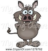 Swine Clipart of Happy Cartoon Boar Standing by Dennis Holmes Designs