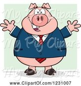 Swine Clipart of Happy Cartoon Business Pig with Open Arms by Hit Toon