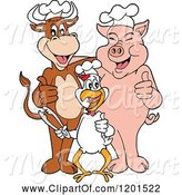 Swine Clipart of Happy Cartoon Chef Bull Chicken and Pig Holding Thumbs up and Tongs by LaffToon