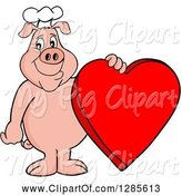 Swine Clipart of Happy Cartoon Chef Pig Standing and Holding a Red Valentine Heart by LaffToon