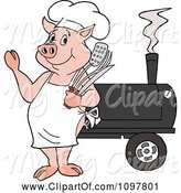 Swine Clipart of Happy Cartoon Chef Pig Waving and Standing by a Bbq Smoker by LaffToon