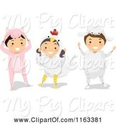 Swine Clipart of Happy Cartoon Children in Pig Chicken and Sheep Farm Animal Costumes by BNP Design Studio