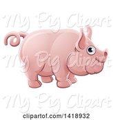 Swine Clipart of Happy Cartoon Chubby Pink Pig by AtStockIllustration