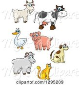 Swine Clipart of Happy Cartoon Farm Animals by Vector Tradition SM