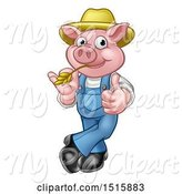 Swine Clipart of Happy Cartoon Farmer Pig Mascot Wearing a Straw Hat, Giving a Thumb up and Chewing on Straw by AtStockIllustration