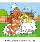 Swine Clipart of Happy Cartoon Hound Dog Chef Eating Ribs on a Pile of Bones by His House, a Pig Hiding by LaffToon