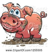 Swine Clipart of Happy Cartoon Muddy Pig by Vector Tradition SM