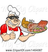Swine Clipart of Happy Cartoon Muscular Chef Pig Wearing a Hat and Sunglasses, Holding a Thumb up and a Plate of Bbq Meats by LaffToon