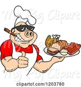 Swine Clipart of Happy Cartoon Muscular Chef Pig Wearing a Hat and Sunglasses, Smoking a Cigar, Holding a Thumb up and a Plate of Bbq Meats by LaffToon