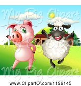 Swine Clipart of Happy Cartoon Pig and Sheep by a Barn and Wind Turbines by Graphics RF
