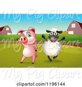 Swine Clipart of Happy Cartoon Pig and Sheep in a Pasture by Graphics RF