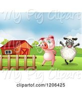 Swine Clipart of Happy Cartoon Pig and Sheep near a Barn by Graphics RF