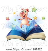 Swine Clipart of Happy Cartoon Pig and Stars over an Open Book by Graphics RF