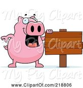 Swine Clipart of Happy Cartoon Pig by a Blank Sign by Cory Thoman