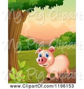 Swine Clipart of Happy Cartoon Pig by a Tree at Sunrise by Graphics RF