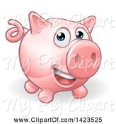 Swine Clipart of Happy Cartoon Pig by AtStockIllustration