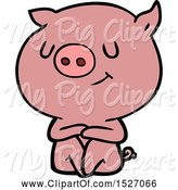 Swine Clipart of Happy Cartoon Pig by Lineartestpilot