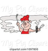 Swine Clipart of Happy Cartoon Pig Chef Holding Tongs and a Fork and Smelling Bbq Smoke by LaffToon