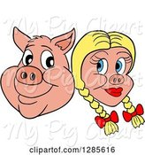 Swine Clipart of Happy Cartoon Pig Face and Blond Haired Girlfriend by LaffToon