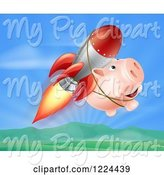 Swine Clipart of Happy Cartoon Pig Flying with a Rocket over a Valley by AtStockIllustration