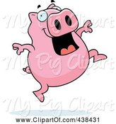 Swine Clipart of Happy Cartoon Pig Jumping by Cory Thoman
