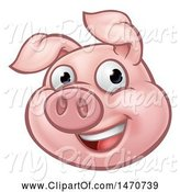 Swine Clipart of Happy Cartoon Pig Mascot by AtStockIllustration