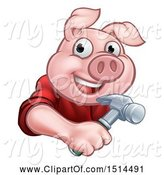 Swine Clipart of Happy Cartoon Pig Mascot Carpenter Holding a Hammer by AtStockIllustration