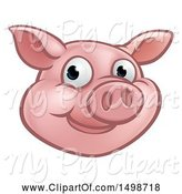 Swine Clipart of Happy Cartoon Pig Mascot Face by AtStockIllustration