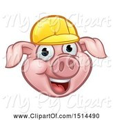 Swine Clipart of Happy Cartoon Pig Mascot Face Wearing a Helmet by AtStockIllustration