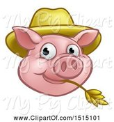 Swine Clipart of Happy Cartoon Pig Mascot Face Wearing a Straw Hat and Chewing on Straw by AtStockIllustration