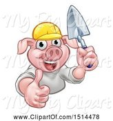 Swine Clipart of Happy Cartoon Pig Mascot Mason Holding a Trowel by AtStockIllustration